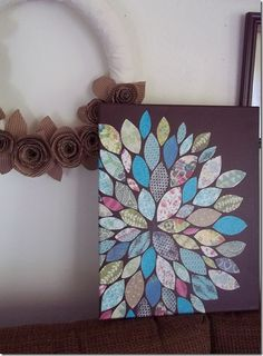 DIY Wall Art (paper and mod podge on painted canvas)