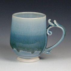 Handmade porcelain mug with frosty blue exterior and white interior glazes. Clay Classes, Porcelain Mugs, Pottery Mugs, Handmade Pottery, Safe Food, Etsy Seller, Ceramics, Tableware, Blue