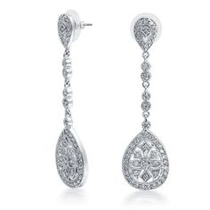 Bling Jewelry Bridal Art Deco Pave CZ Teardrop Silver Plated Chandelier Earrings Large 2.5: Jewelry: Amazon.com $39.99