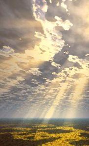 sun filtering through a majestic sky