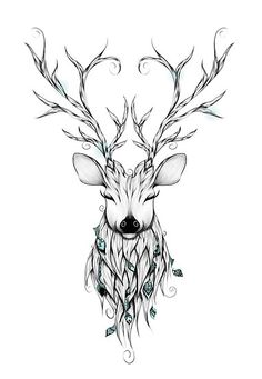 Poetic Deer poster by from collection. Deer Head Tattoo, Head Tattoos, Feather Tattoos, Fox Tattoos, Arm Tattoo, Moose Tattoo, Tattoo Ink, Print Tattoos, Trendy Tattoos