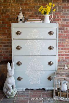 Use crackle medium, wax & stencil for a DIY old world dresser revival.