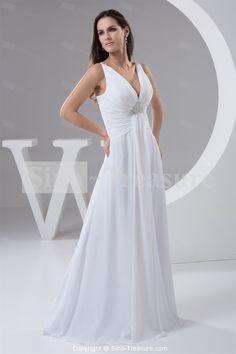 White Chiffon V-neck Floor Length Beach Wedding Dress