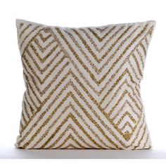 Decorative Throw Pillow Covers Accent Pillow Couch Sofa Pillow 18x18 Ivory White Silk Pillow Cover with Bead Embroidered Gold Silver Tinsel by TheHomeCentric on Etsy