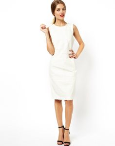 Asos White Leather Seam Detail Leather Dress