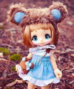 Fuwa Kuma Blue set  Available on Etsy ✨ #wichipopochi #KIKIPOP #kiki #kinokojuice #handmade #polkadot #blue #etsy #bjd #azone #cute #lovely #sweet #heart #dress #キキポップ#キキ#アゾン#キノコジュース #手作り #かわいい #ワンピース #熊