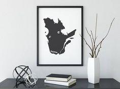 Quebec Print, Map Art, Canada Day, Canadian Decor, Canada Decor, Modern Map Art, Home Decor, Province Print, Wall Art, Canadian, True North