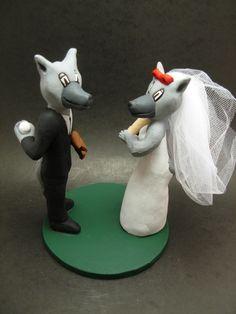 Custom made to order N.C. Wolfpack college mascot wedding cake toppers. $235 www.magicmud.com 1 800 231 9814 magicmud@magicmud... blog.magicmud.com twitter.com/... $235 #mascot #collegemascot #hokie #ms.wuf #gators #virginiatech #football mascot #wedding #toppers #custom #Groom #bride #weddingcaketoppers #caketoppers www.facebook.com/... www.tumblr.com/... instagram.com/... magicmud.com/Wedding photos.htm