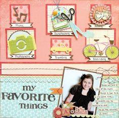 """My Favorite Things"" scrapbook layout by Abbie Nichols for Creating Keepsakes magazine. #scrapbook #scrapbooking"