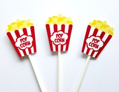 Movie Party Cupcake Toppers - Popcorn cupcake toppers - Movie Party Decorations by CraftyCue on Etsy https://www.etsy.com/listing/232749901/movie-party-cupcake-toppers-popcorn