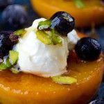 Pan Seared Peaches with Yogurt
