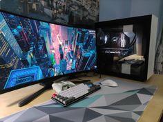 Pc Gaming Setup, Pc Setup, Workspace Inspiration, Diy Stuff, Games, Room, Ideas, Men's Earrings, Male Bedroom
