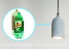 Homemade Concrete Pendant Lamp, Cool DIY Concrete Project Ideas, http://hative.com/cool-diy-concrete-project-ideas/,