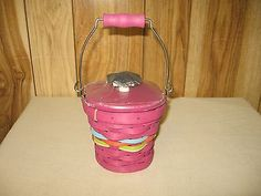 LONGABERGER-COLLECTORS-CLUB-SMALL-PAIL-BASKET-SET-IN-MAGENTA-NEW