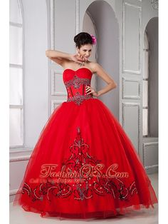 Exclusive Red Ball Gown Sweetheart Quinceanera Dresses Tulle Beading Floor-length  http://www.facebook.com/quinceaneradress.fashionos.us  www.fashionos.com  Gorgeous and vintage. It features a fashionable sweetheart neckline. Exquisite beaded appliques adorn on the corset bodice to create an empire waistline. Similar appliques scatters at the hemline which adds the charm. The ball gown skirt moves perfectly when you walk.