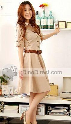 $24 Fall Work Dress Women Cropped Sleeve Shirt Belted Dress