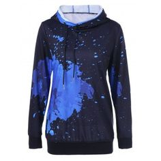 Splatter Paint Drawstring Hoodie - Blue And Black M Mens Fashion Shoes, Cheap Fashion, Fashion Outfits, Fashion Site, Fashion Online, Fashion Jewelry, Style Fashion, Fashion Women, Bags Online Shopping