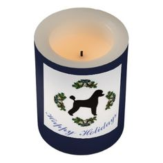 #personalize - #Poodle Happy Holidays Candle