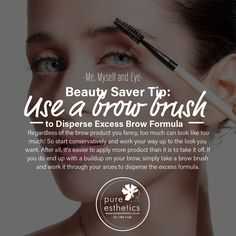 Use a Brow Brush to Disperse Excess Brow Formula Regardless of the brow product you fancy, too much can look like too much! So start conservatively and work your way up to the look you want. After all, it's easier to apply more product than it is to take it off. If you do end up with a buildup on your brow, simply take a brow brush and work it through your arces to disperse the excess formula. Contact us on 011 784 1168 for more information or appointment. #bestbrows #pureesthetics…