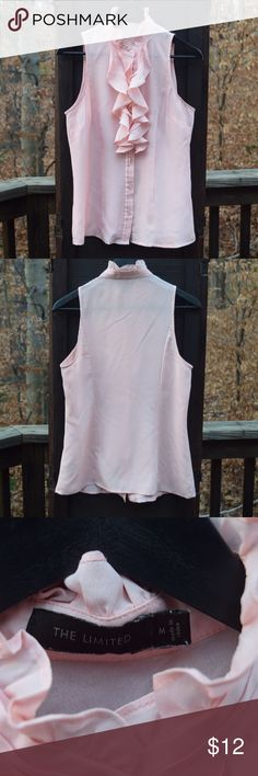 """The Limited Ruffled Neck Sleeveless Blouse In great condition 100% Polyester. Measures: army to armpit 19""""inches, nape to bottom hem 25.5""""inches, armpit to bottom hem 17""""inches. The Limited Tops Blouses"""
