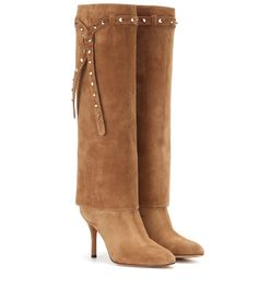 Valentino - Embellished suede knee-high boots - Complete your fall looks in style with these embellished suede boots from Valentino. Delicious tan suede teams with a studded tie at the top and a modestly sized heel. Wear them with skirts and jeans alike. seen @ www.mytheresa.com