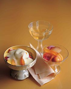 Any combination of stone fruits can be used for this dessert, which pairs a rich, creamy sauce with tart, juicy fruit.