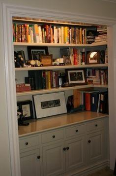 closet conversion to bookcase
