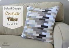 Faux Cowhide Pillow Cover from Scrap Fabric - I'd make a Tetris pillow! And now I want to do that.