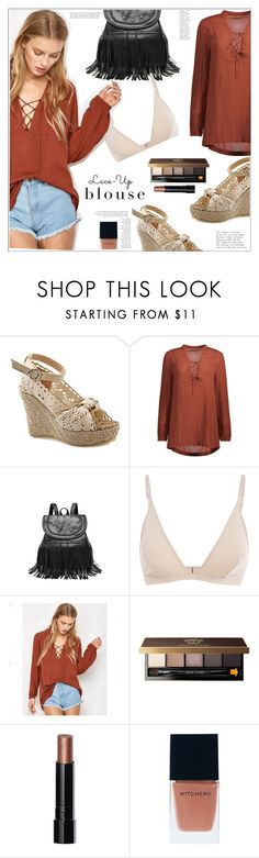 """""""Lace-Up Blouse"""" by mycherryblossom ❤ liked on Polyvore featuring Behance, Bobbi Brown Cosmetics and Witchery"""
