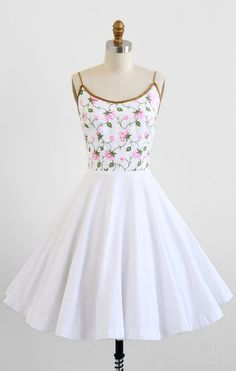 vintage 1950s dress / 50s dress / White and Pink by RococoVintage
