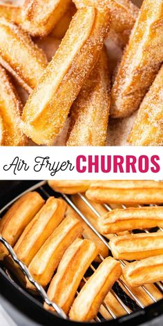 Air Fryer Churros fried to golden perfection make a delicious dessert for your next Mexican-themed party! Freshly baked and coated with cinnamon-sugar this easy Air Fryer dessert is a lot easier to make at home than you think. Air Fryer Recipes Dessert, Air Fryer Recipes Breakfast, Air Fryer Oven Recipes, Airfryer Breakfast Recipes, Deep Fryer Recipes, Dessert Party, Easy Churros Recipe, Churro Recipe, Air Frier Recipes