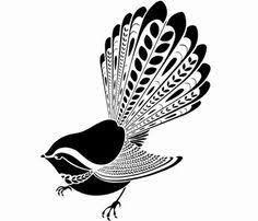 Fantail NZ native bird - Animals and Pet Supplies 2020 Native Drawings, Bird Drawings, Baby Angel Tattoo, Maori Designs, Tattoo Designs, Batman Poster, Nz Art, Maori Art, Tribal Patterns