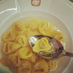 tortellini in chicken broth, traditional Bologna cuisine.. very good! if you go in Bologna you must eat it!