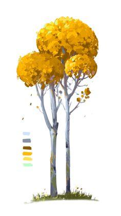Landscape Concept, Landscape Art, Digital Painting Tutorials, Art Tutorials, Cartoon Trees, Dibujos Cute, Tree Illustration, Plant Art, Environment Concept Art