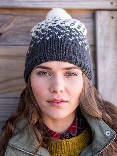 09582f5c667744 Mika Fair Isle Hat Knitting Pattern uses 2 balls of Berroco Catena yarn  Bobble Hats