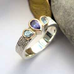 Tanzanite and Aquamarine silver and gold ring Gold And Silver Rings, Silver Jewelry, Bespoke Jewellery, Bronze Sculpture, Metal Working, Rings For Men, Wedding Rings, Engagement Rings, Luxury
