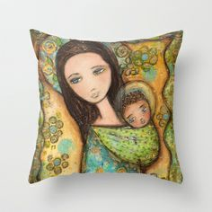 Mother by Flor Larios Throw Pillow by Flor Larios Art - $20.00
