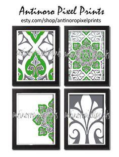 Wall Art Unframed Green G4 Greys Ikat by antinoropixelprints, $45.00