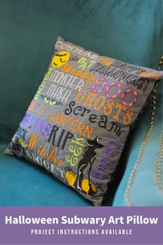 Subway Art is a great way to showcase your embroidery design and font collection! This Halloween Subway Art Pillow features the spookiest and most boo-tiful designs and fonts to celebrate this time of year. // Find the tutorial on how to create this eye-catching Halloween pillow by clicking the link.