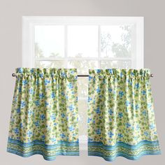 Park B. Smith Boutique Flowers Tier Kitchen Window Curtain Set, Blue