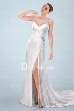 Elegant Beaded Halter Straps A-line Wedding Gown with Sparkling Beadings and High Split