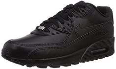 Nike Mens Air Max 90 Leather Running Shoes BlackBlack 302519001 Size 8 ** You can get more details by clicking on the image.