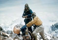 Edmund Hillary and Sherpa Tenzing Norgay near the top of Everest May 1953