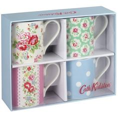 Our dainty tea mugs are the perfect size for a morning cuppa. This set contains a range of pretty prints and makes a great gift.