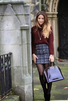 Amazing Burgundy Sweater with Striped Mini Skirt, Boots and Patent Leather Handbag, Street Style, Love It
