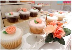 Rose topped cupcakes at a shabby chic birthday party! See more party ideas at CatchMyParty.com!