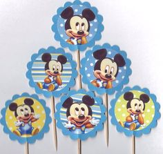 Baby Mickey Mouse Cupcake Toppers Birthday Party Decorations Set of 12 or baby boy shower Baby Shower De Mickey Mouse, Mickey Mouse Cupcakes, Mickey Mouse Baby Shower, Fiesta Mickey Mouse, Baby Mouse, Mickey Birthday, Mickey Party, Mickey Mouse Parties, Baby Birthday