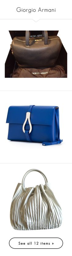 """Giorgio Armani"" by jiji-585 ❤ liked on Polyvore featuring bags, handbags, tote bags, black, giorgio armani handbags, black tote, giorgio armani purses, black purse, black handbags and brown"