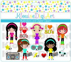 SALE - 80s Disco Clipart Characters Girls inspired - Digital Clip Art - Personal and Small Commercial Use. $1.70, via Etsy.