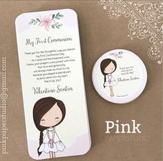 First Communion Favor Cards Bookmark Communion Girl
